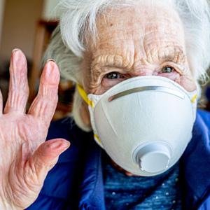 Senior female wearing mask